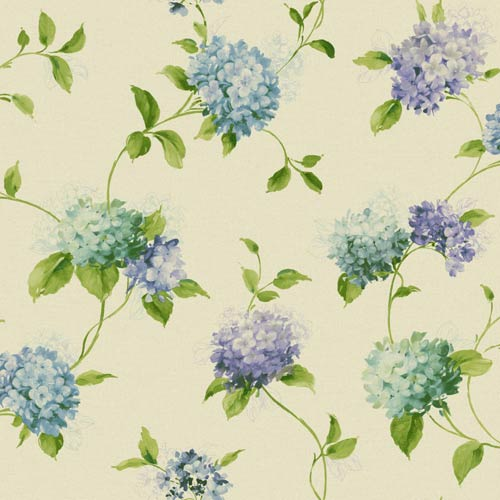 York Wallcoverings Kitchen and Bath Beige, Green and Blue Hydrangea Trail Wallpaper: Sample Swatch Only