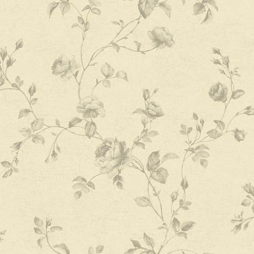 York Wallcoverings Kitchen and Bath White and Shades Of Taupe Rose Toile Wallpaper: Sample Swatch Only