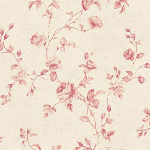 York Wallcoverings Kitchen and Bath White, Pale Coral and Green Rose Toile Wallpaper: Sample Swatch Only