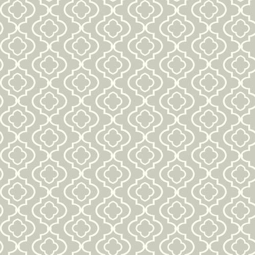 Kitchen and Bath White and Gray Small Trellis Wallpaper