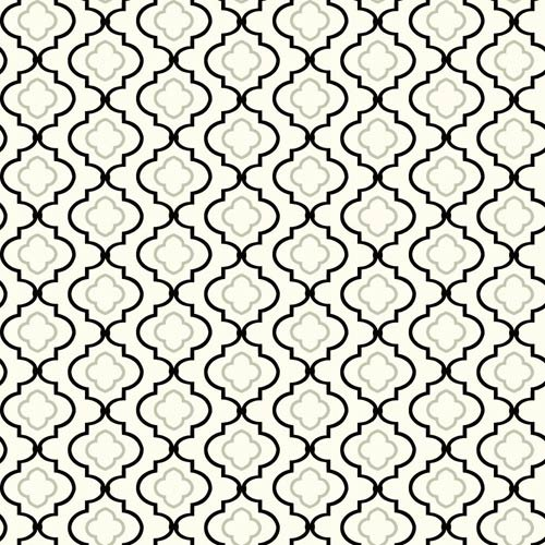 York Wallcoverings Kitchen and Bath White, Black and Shining Silver Small Trellis Wallpaper : Sample Swatch Only