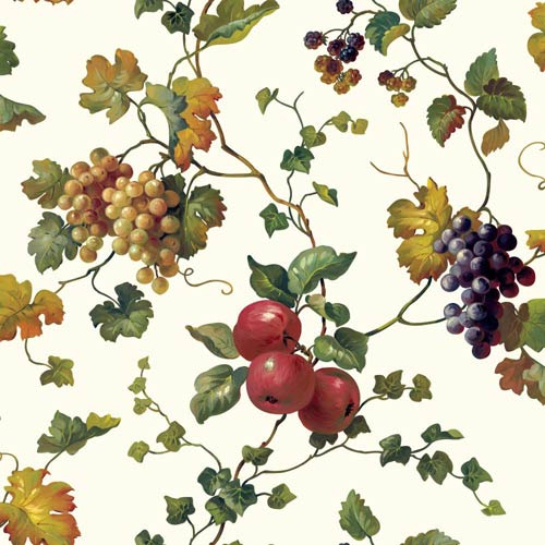 York Wallcoverings Kitchen and Bath White, Butterscotch and Shades Of Green Fruit and Ivy Wallpaper : Sample Swatch Only