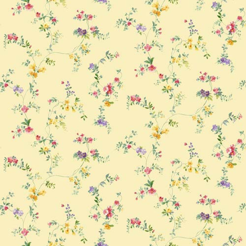 York Wallcoverings Kitchen and Bath Yellow Green, Bright Yellow and Bright Pink Document Vine Wallpaper : Sample Swatch Only