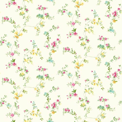 York Wallcoverings Kitchen and Bath White, Bright Yellow and Pink Document Vine Wallpaper : Sample Swatch Only