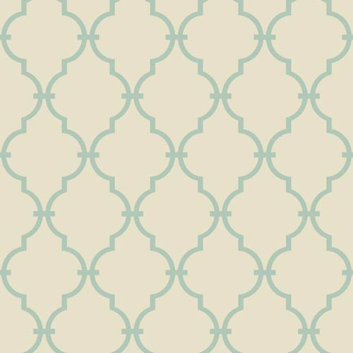 York Wallcoverings Kitchen and Bath Cream and Aqua Modern Trellis Wallpaper: Sample Swatch Only