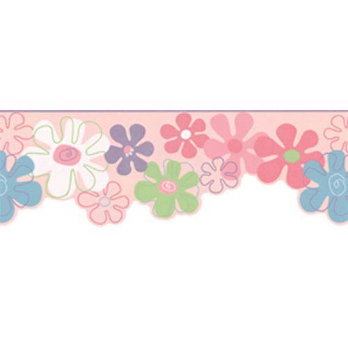 York Wallcoverings York Kids Pink and Blue and White IV Flower Power Border: Sample Swatch Only