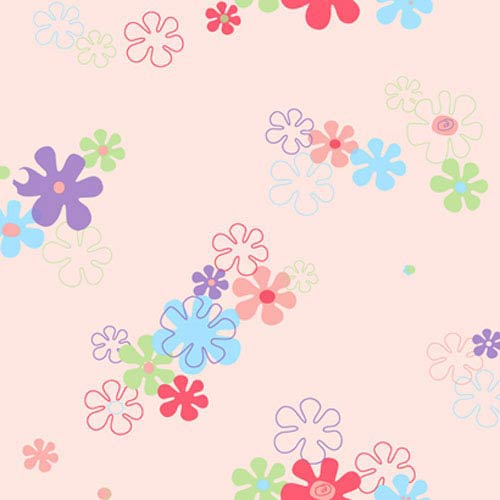 York Wallcoverings York Kids Pink Background and Multi IV Flower Power Wallpaper: Sample Swatch Only