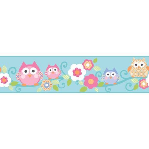 York Wallcoverings Cool Kids Robins Egg, Strawberry, Watermelon, Orange Pop, Blueberry, Kiwi and Snow Owl Branch Border