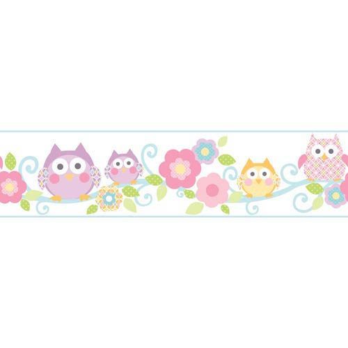 York Wallcoverings Cool Kids Bubble Gum, Strawberry Shake, Lavender, Robins Egg, Kiwi, Snow and Butterscotch Owl Branch