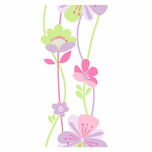 York Wallcoverings Cool Kids Stripe Lilac, Lavender, Bubble Gum, Strawberry Shake, Pistachio and Snow Large Floral Wallpaper: