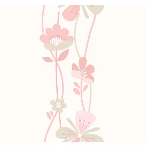 York Wallcoverings Cool Kids Stripe Pale Blush, Dusty Rose, Pale Taupe and Snow Large Floral Wallpaper