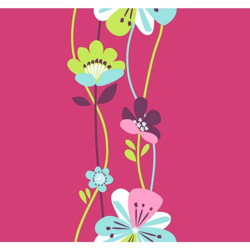 Cool Kids Stripe Watermelon, Robins Egg, Pistachio, Bubblegum Pink and Snow Large Floral Wallpaper: Sample Swatch Only