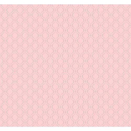 York Wallcoverings Cool Kids Pale Blush Pink and Silver Frost Glitter Trellis Wallpaper: Sample Swatch Only