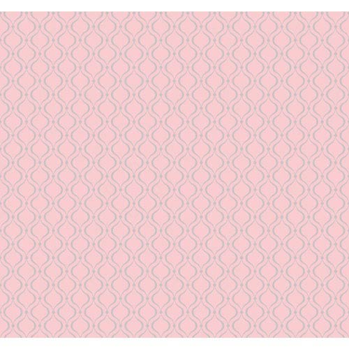York Wallcoverings Cool Kids Bubble Gum and Silver Frost Glitter Trellis Wallpaper: Sample Swatch Only