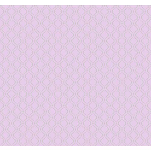 York Wallcoverings Cool Kids Lavender and Silver Frost Glitter Trellis Wallpaper: Sample Swatch Only