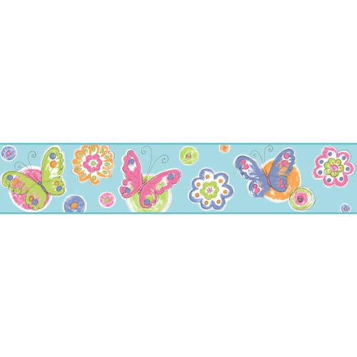 York Wallcoverings Cool Kids Robins Egg, Orange Pop, Bubblegum Pink, Pistachio, Blueberry and Snow Butterfly Circle Border