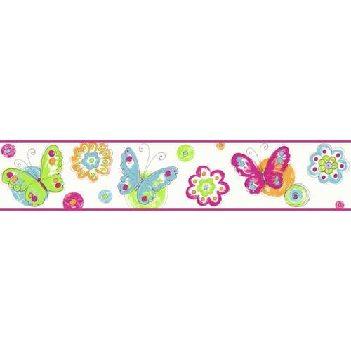Cool Kids Snow, Robins Egg, Orange Pop, Kiwi, Watermelon and Grape Juice Butterfly Circle Border Wallpaper: Sample Swatch