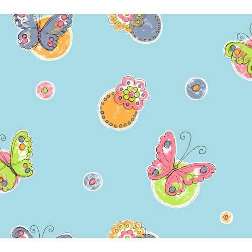 York Wallcoverings Cool Kids Robins Egg, Orange Pop, Bubblegum Pink, Kiwi, Blueberry, Licorice and Snow Butterfly Circle