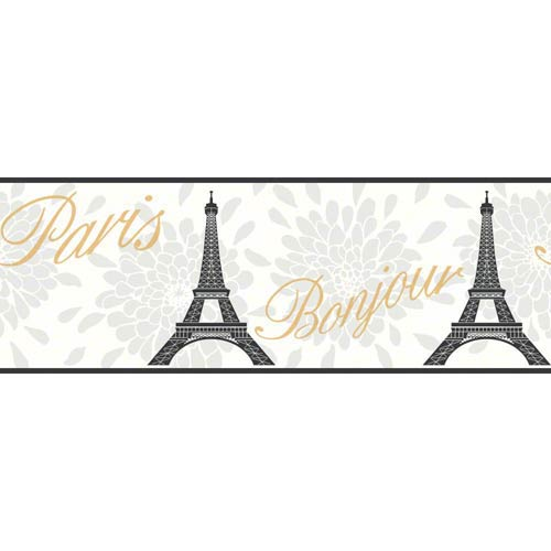 York Wallcoverings Cool Kids Snow, Pearl, Licorice, Silver Frost and Gold Paris Border Wallpaper