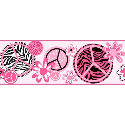 York Wallcoverings Cool Kids Bubblegum Pinkwatermelon, Strawberry Fizz, Snow, Silver and Licorice Peace, Zebra Border