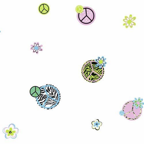 York Wallcoverings Cool Kids Snow, Pistachio, Snow Cone Blue, Licorice and Lavender Peace, Zebra Wallpaper: Sample Swatch