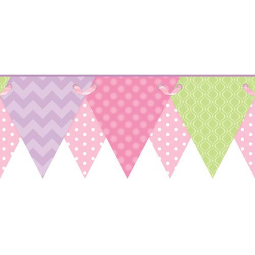 York Wallcoverings Cool Kids Soft Blush Pink, Bubblegum Pink, Pistachio, Lilac, Lavender and Snow Geometric Pennant Border