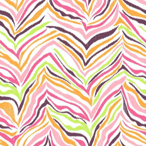 York Wallcoverings Cool Kids Pistachio, Bubblegum Pink, Grape Juice, Orange Pop, Watermelon and Snow Multi Zebra Wallpaper: