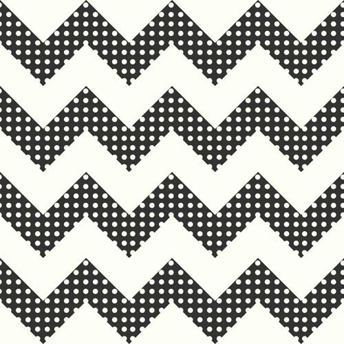 York Wallcoverings Cool Kids Snow and Licorice Chevron Wallpaper: Sample Swatch Only