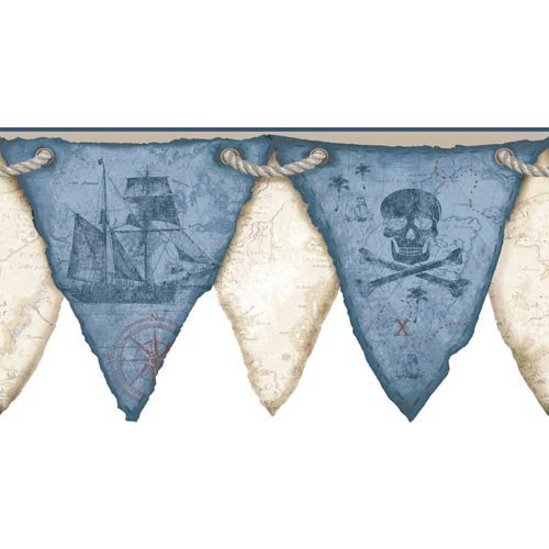 Cool Kids Marine Blue, Navy Blue, Russet, Beige and Buff Pirates Pennant Border Wallpaper: Sample Swatch Only