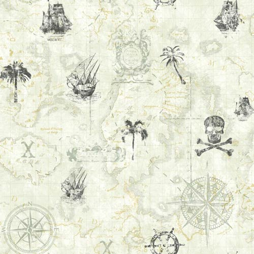York Wallcoverings Cool Kids Dove Grey, Medium Grey, Charcoal and Sand Pirate Map Wallpaper