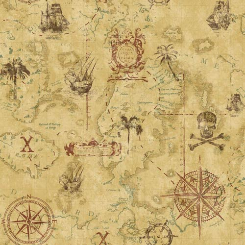 York Wallcoverings Cool Kids Manila Tan, Earth Brown and Russet Pirate Map Wallpaper