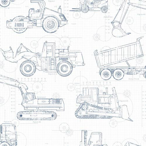 Cool Kids White, Blue, Grey and Prussian Blue Blueprint Construction Wallpaper