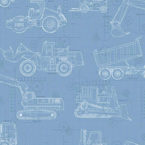York Wallcoverings Cool Kids Sky Blue, Medium Blue, Dark Blue and White Blueprint Construction Wallpaper: Sample Swatch Only