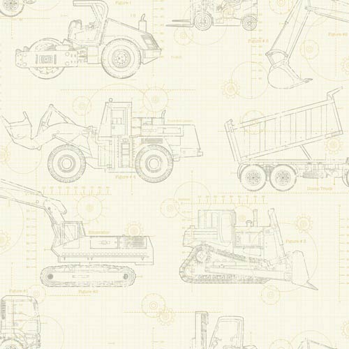 York Wallcoverings Cool Kids Ecru, Tan and Grey Blueprint Construction Wallpaper: Sample Swatch Only