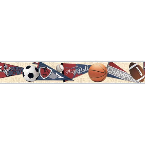 York Wallcoverings Cool Kids Ecru, Taupe, Red, Blue, Rust, White and Black Sports Ball Border Wallpaper