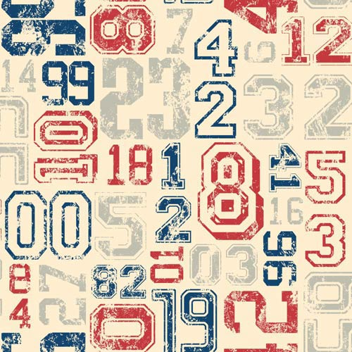 York Wallcoverings Cool Kids Ecru, Red, Blue and Grey Varsity Number Wallpaper: Sample Swatch Only