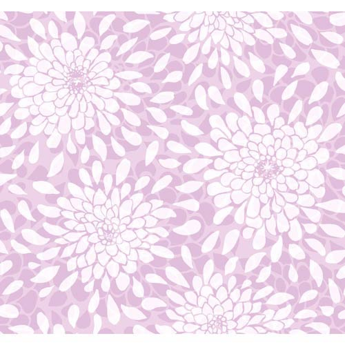 York Wallcoverings Cool Kids Orchid, Lavender and Silver Frost Toss The Bouquet Wallpaper: Sample Swatch Only