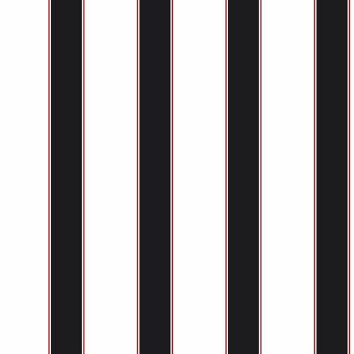 Cool Kids White, Black and Red Wide Stripe, Pinstripe Wallpaper: Sample Swatch Only