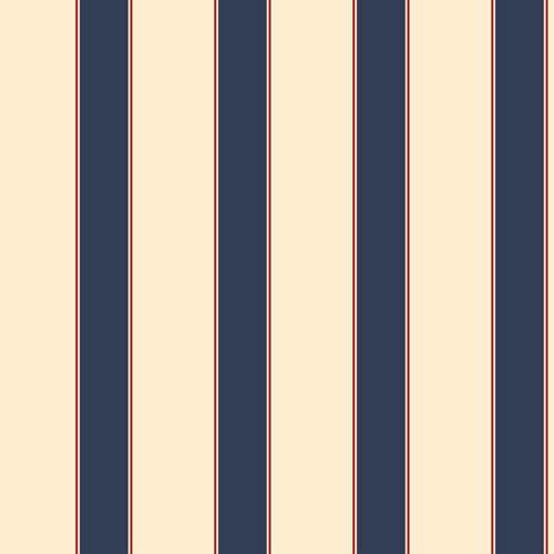 Cool Kids Ecru, Blue and Red Wide Stripe, Pinstripe Wallpaper