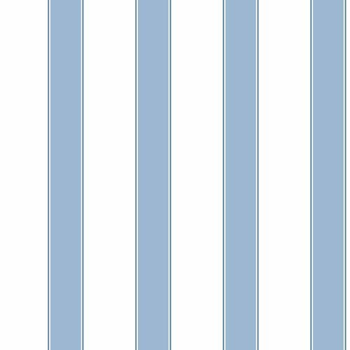 York Wallcoverings Cool Kids White, Sky Blue and Marine Blue Wide Stripe, Pinstripe Wallpaper: Sample Swatch Only