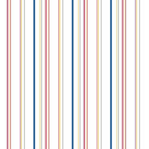 Cool Kids Snow, Egg Yolk, Candy Apple, Grey and Navy Wide Multi Stripe Wallpaper: Sample Swatch Only