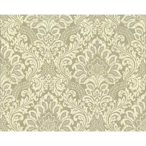 York Wallcoverings Organic Cork Prints Secret Garden Metallic and Beige Wallpaper-SAMPLE SWATCH ONLY
