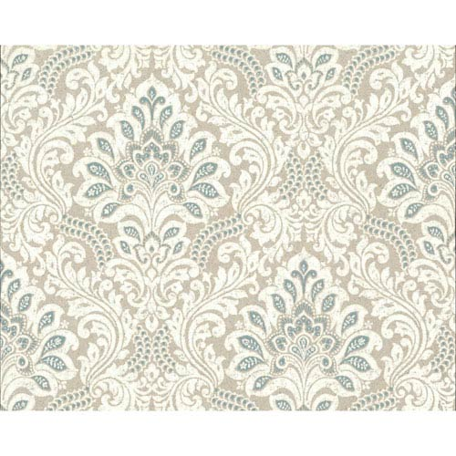 York Wallcoverings Organic Cork Prints Secret Garden Blue and White Wallpaper-SAMPLE SWATCH ONLY
