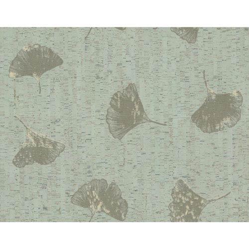 Organic Cork Prints Gingko Green Wallpaper
