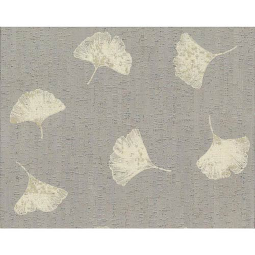 Organic Cork Prints Gingko Metallic and Beige Wallpaper