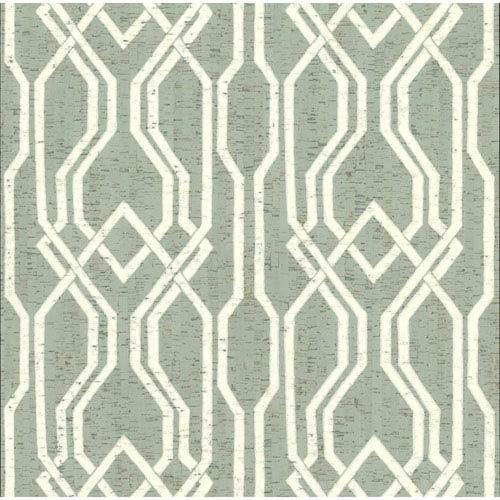 York Wallcoverings Organic Cork Prints Balanced Trellis Green and White Wallpaper-SAMPLE SWATCH ONLY