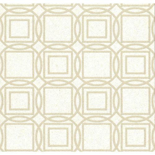 York Wallcoverings Organic Cork Prints Labyrinth White and Off White Wallpaper-SAMPLE SWATCH ONLY