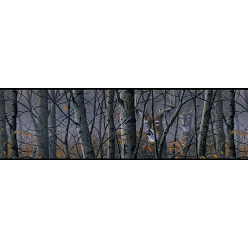 York Wallcoverings Lake Forest Lodge Deer In Woods Border: Sample Swatch Only