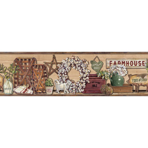York Wallcoverings Rustic Living Farmhouse Shelf Red Border- SAMPLE SWATCH ONLY