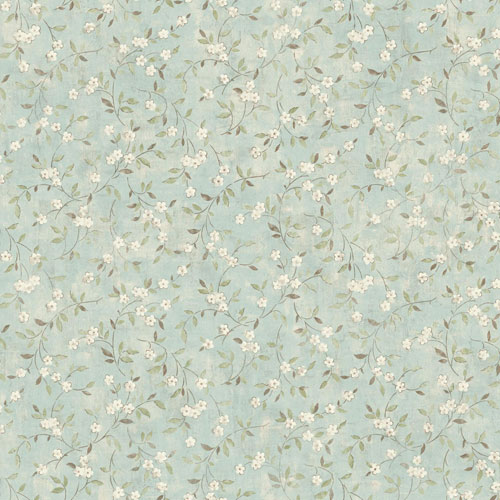Rustic Living Floral Sprig Blue Wallpaper
